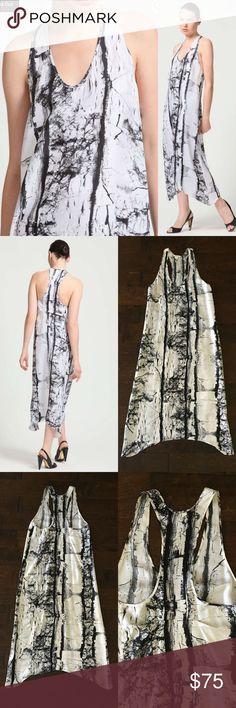 """Helmut Lang-Silk Marble Print Dress Authentic Helmut Lang-100% Silk marble print sleeveless racerback dress. Back has pleat stitching detail hem is rounded.  Excellent Condition!   Size-2.   Length Shortest: 49""""/Longest: 52"""".      Chest (armpit-armpit): 17 1/2"""".     Waist: 19"""".    Hip: 21 1/2"""".   Hem: 25"""" Helmut Lang Dresses Maxi"""