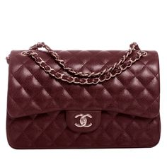 Chanel Burgundy Quilted Caviar Jumbo Classic 2.55 Double Flap Bag | From a collection of rare vintage handbags and purses at https://www.1stdibs.com/fashion/accessories/handbags-purses/