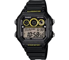 168a17f0a6f9 Casio Digital Sports Watch Black Yellow Face