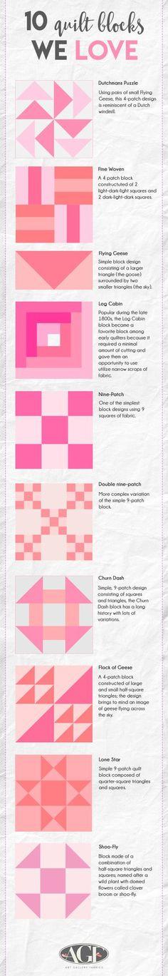 10 quilt blocks we love!   Art Gallery Fabrics-The Creative Blog   Bloglovin'