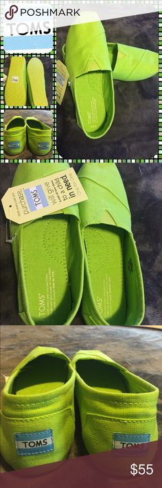 BNWT Woman's Authentic Lime Green Toms BNWT authentic woman's lime green Toms.  Size 9.5.  Never worn.  No trades.  No other websites.  Will price drop using offer option. TOMS Shoes Flats & Loafers