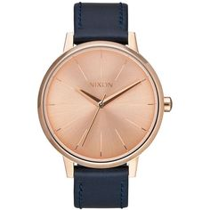 Nixon Kensington Leather Watch (410 BRL) ❤ liked on Polyvore featuring jewelry, watches, nixon wrist watch, nixon jewelry, leather watches, analog watches and leather jewelry