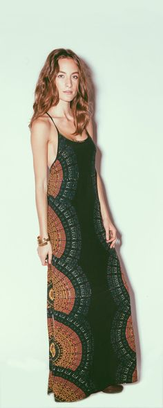Cleobella Radial Zadie Maxi Dress.  Radial pattern from side seams create a flattering line