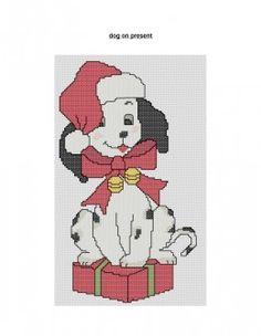 free cross stitch pattern Christmas dog with present