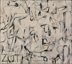 De Kooning's Excavation in the Chicago Art Institute Willem de Kooning in his studio in 1950 Willem de Kooning, Excavation, 1950 I . Willem De Kooning, Expressionist Artists, Abstract Expressionism, De Kooning Paintings, Rotterdam, Abstract Watercolor, Abstract Art, Abstract Paintings, Oil Paintings