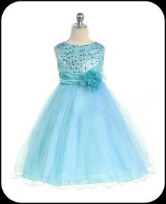 Aqua Pool Blue Flower Girls Dress w. Sequin Bodice & Double Ruffled Hem     Isabellasfate.com
