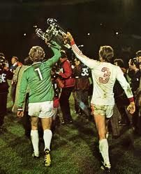 Munich 1 St Etienne 0 in May 1976 at Hampden Park, Glasgow. Bayern players celebrate winning the European Cup for the year in a row. Hampden Park, St Etienne, European Cup, Uefa Champions League, Munich, Glasgow, Finals, The Row, Celtic