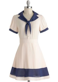 Delight of My Life Dress - Nautical, Cream, Blue, Buttons, Shirt Dress, Short Sleeves, Tie Neck, Casual, Collared, Vintage Inspired, 50s