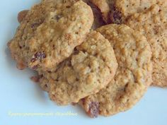 Oats Recipes, Sweet Recipes, Cookie Recipes, Greek Cookies, Almond Cookies, Biscuits, Greek Sweets, Biscuit Cookies, Sweet And Salty