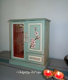 Vintage Jewelry Box - hand painted in Duck Egg Blue and Old White by Annie Sloan Chalk Paints