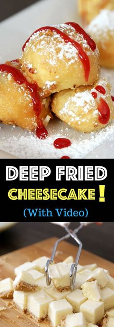 Crispy & Creamy Fried Cheesecake – Crispy outside and creamy inside! you can't resist this delicious dessert made with your favorite frozen. Deep Fried Desserts, Easy Desserts, Delicious Desserts, Dessert Recipes, Yummy Food, Quick Simple Desserts, Creative Desserts, No Bake Desserts, Fried Cheesecake