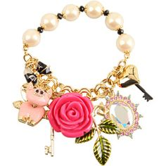 Betsey Johnson - Rose Garden Rose/Pig Charm Half Stretch Bracelet