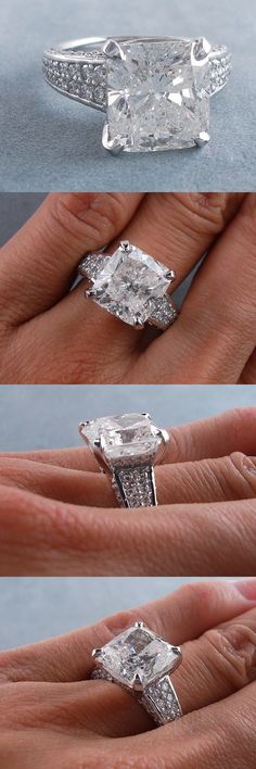 Lab-Created Diamonds 152823: 7.25 Carats Cushion Cut Diamond Engagement Ring H Si2 -> BUY IT NOW ONLY: $34990 on eBay!