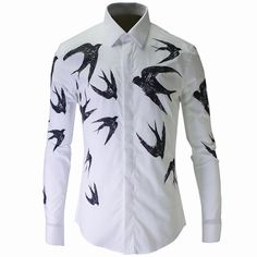 Luxury Men Shirt Chemise Homme Unique Swallows Design Mens Slim Long Sleeve Cotton Dress Shirts Brand Camisas Hombre Masculino