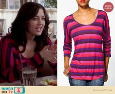 Maggie's pink and purple striped top on The Carrie Diaries.  Outfit details: http://wornontv.net/14286/