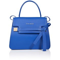 ESCADA Shoulder bag ML40 ($1,195) ❤ liked on Polyvore featuring bags, handbags, shoulder bags, heather, leather purse, shoulder strap bag, leather shoulder handbags, blue purse and zipper pouch