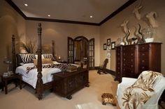 Master Bedroom Painting with dark wood trim | paint savanna bed brown. dark wood trim..zebra! plant behind bed.. tan ...