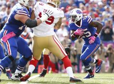 49ers vs. Bills:     October 16, 2016  -  45-16, Bills  -    Oct 16, 2016; Orchard Park, NY, USA; Buffalo Bills running back LeSean McCoy (25) runs with the ball during the first quarter against the San Francisco 49ers at New Era Field. Mandatory Credit: Kevin Hoffman-USA TODAY Sports