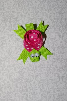 Turtle Ribbon Sculpture Hair Clip, pink and green turtle hair clip. $4.00, via Etsy.