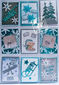 winter blue snowflakes pocket letter