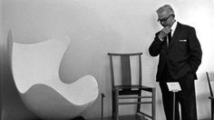Arne Jacobsen With the prototype of his best known chair, The Egg Chair