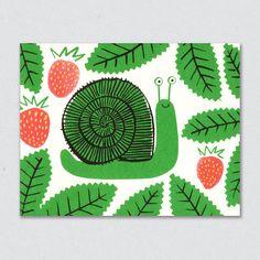 Smug snail among wild strawberries, illustration for greetings card from Lisa Jones Studio Art And Illustration, Cute Animal Illustration, Work Pictures, Ecole Art, Guache, Mail Art, Art Plastique, Art Education, Tinkerbell