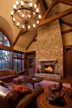 rustic country living room decorating ideas - Internal Home Design Living Room Decor Brown Couch, Living Room With Fireplace, Living Room Interior, Home Living Room, Tall Fireplace, Home Design, Design Ideas, Shabby Chic Vintage, Log Homes