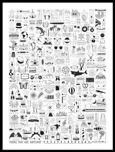 Things That Are Awesome  18x24 Ink Illustration by funnelcloud, $75.00