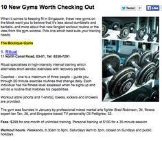 Top 10 Gyms to check out in Singapore as rated by Men's Health http://www.menshealth.com.sg/fitness/10-new-gyms-worth-checking-out