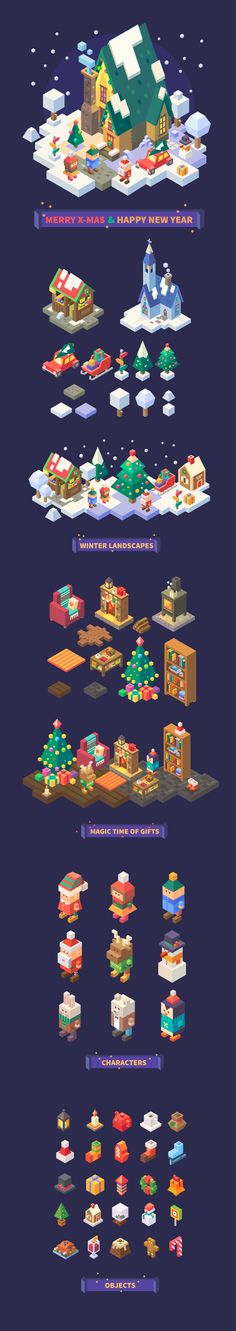 Christmas and New Year isometric set on Behance