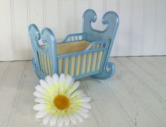 Retro Blue Cradle Planter  Vintage Celluloid 2 by DivineOrders, $24.00