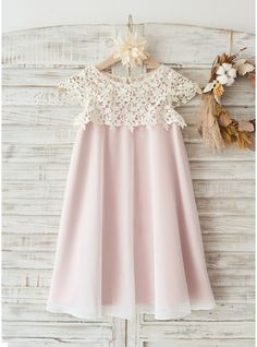 A-Line/Princess Knee-lengthBoho Beach Lace Cap Sleeves Ivory Chiffon Wedding Flower Girl  Knee-length Dress with Pink Lining (010117694) - JJsHouse