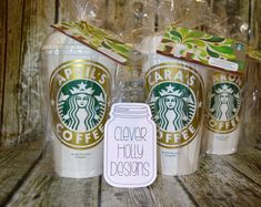 Bridesmaid Gift Idea... Personalized Starbucks Coffee Cup • Tea Cup, *Genuine Starbucks® Reusable Cup that I personalize with a name (and optional monogram) and then place each in a cello bag wrapped with a matching cord. My cups and their presentation offer a high quality gift for everyone in the entire wedding party. I have been crafting these perfect gifts for years and my product and packaging is of the highest quality. This means that Im very experienced at producing this kind of work…