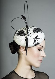 Rachel Trevor-Morgan Millinery - Black and white embroidered silk pillbox with quills. #passion4hats