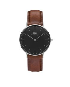 46909f4b77c The Classic Black St Mawes (36mm) in Silver Daniel Wellington Classic, Daniel  Wellington