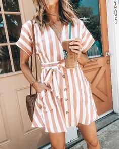 Pink and white stripped dress. Pink and white stripped dress. The post minimal fashion. Pink and white stripped dress. appeared first on Summer Ideas. Trendy Summer Outfits, Summer Fashion Outfits, Cute Outfits, Casual Outfits, Classy Outfits, Summer Casual Dresses, Work Outfits, Peach Outfits, Fashionable Outfits