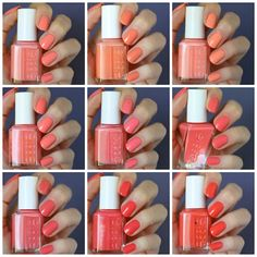Essie Orange Coral Comparisons : Tart Deco, Peach Side Babe, Haute As Hello, Resort Fling, Lounge Lover, On the List, Carousel Coral, Sunday Funday & Sunshine State of Mind | Essie Envy