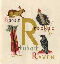 The letter R illustrated by Grace Gabler for Puffin book.