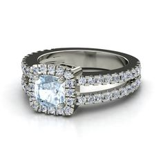 Cushion Aquamarine 14K White Gold Ring with Diamond   Simone Ring (6mm gem)   Gemvara