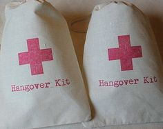 10 Hangover Kit / Red Cross - Organic Cotton Drawstring Bags - Great for Bachelorette or Bachelor Parties 5x7