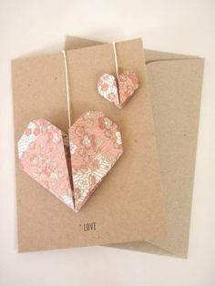 55 best origami cards images on pinterest origami cards diy heart on a string greeting card with origami m4hsunfo