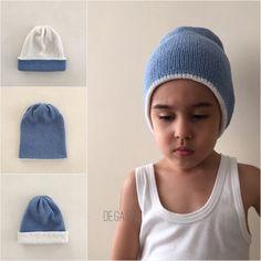 Blue white hat, knit hat, children hat, knit slouchy beanie, baby hat, boy hat, ready to ship