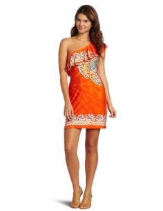 CUTE!!!! Amazon.com: Just For Wraps Juniors One Shoulder Ity Border Placement Print Dress: Clothing
