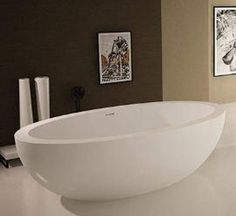 "Sovereign 75.5"" x 40.5"" Artificial Stone Freestanding Bathtub"