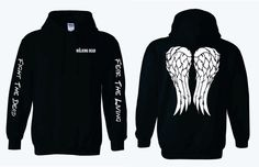 Fight The Dead Fear The Living Sleeves on The Walking Dead Hoodie with Daryl Dixon Angel Wings by AdSpecial on Etsy https://www.etsy.com/listing/211421723/fight-the-dead-fear-the-living-sleeves