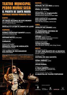 Ya puedes consultar la programación Invierno-Primavera 2013 del Teatro Pedro Muñoz Seca.    Más información:  http://www.elpuertodesantamaria.es/index.php?art_id=9582men_id=120