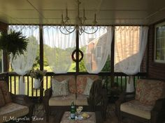 Screened porch with sheer privacy panels