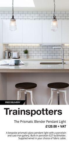 The Prismatic Blender Pendant Light Open Plan Kitchen Living Room, Kitchen Room Design, Home Room Design, Kitchen Layout, House Design, Kitchen Designs, Web Design, Kitchen Lamps, Home Decor Kitchen