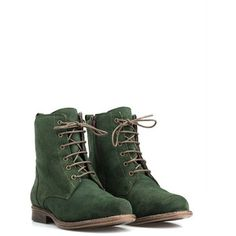 JJ Footwear Green Plus Size Laced boots from suede