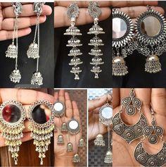 Indian Jewelry Earrings, Indian Jewelry Sets, Silver Jewellery Indian, Indian Wedding Jewelry, Ear Jewelry, Bridal Jewelry Sets, Antique Jewellery Designs, Fancy Jewellery, Gold Earrings Designs